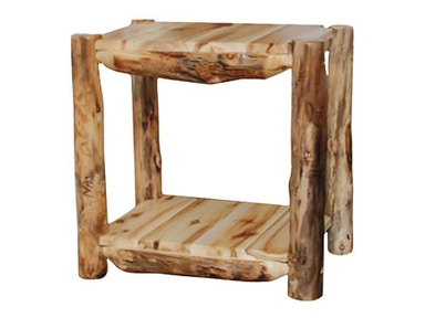 Rustic Log Alpine End Table (24W) in Wild Panel & Natural Log AETA-24-WN