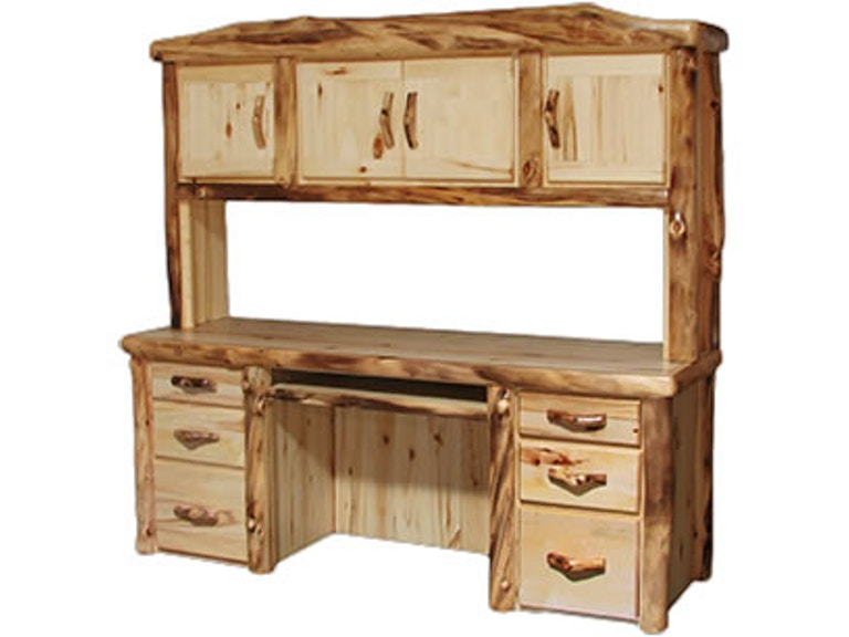 Rustic Log Home Office Desk And Hutch In Flat Front 72w