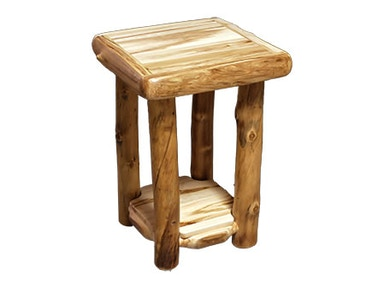 Rustic Log End Table (18W) in Wild Panel & Natural Log ETAB-18-WN