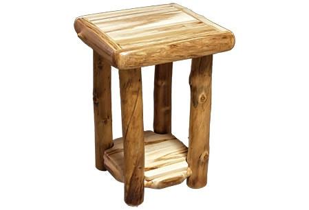Rustic Log End Table (18W) In Wild Panel U0026 Natural Log ETAB 18
