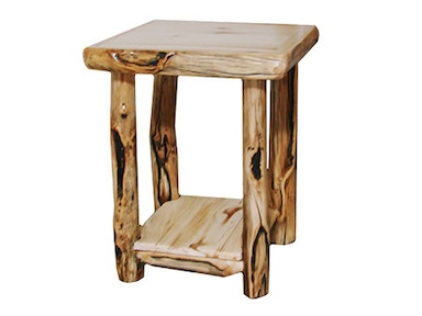 Rustic Log End Table (21W) in Natural Panel & Gnarly Log ETAB-21-NG