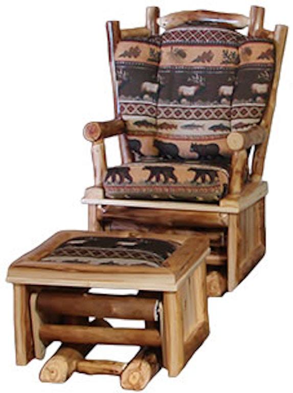 Fantastic Rustic Log Living Room Glider Chair Ottoman For Glider Dailytribune Chair Design For Home Dailytribuneorg