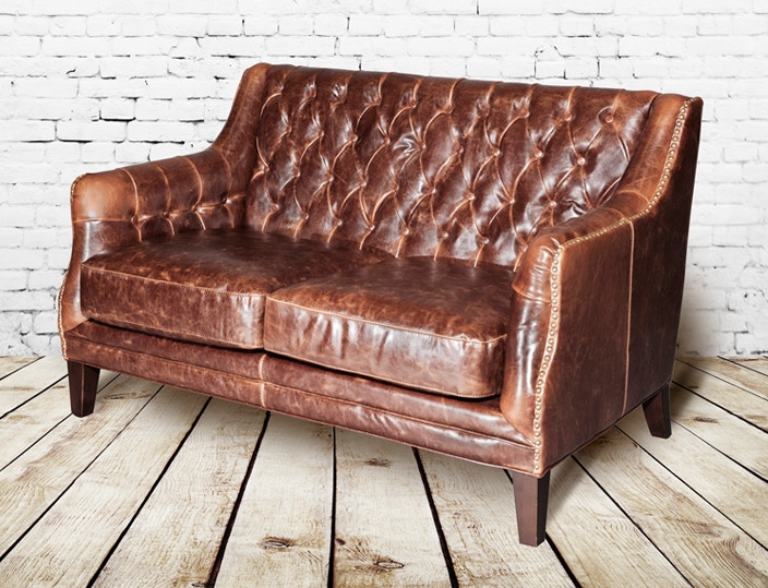 Wonderful Alder And Tweed Antique Saddle Leather London Settee AT11702 AS