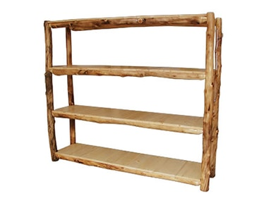 Rustic Log Medium Display Shelf (72W) in Natural Panel & Natural Log MDSH-72-NN