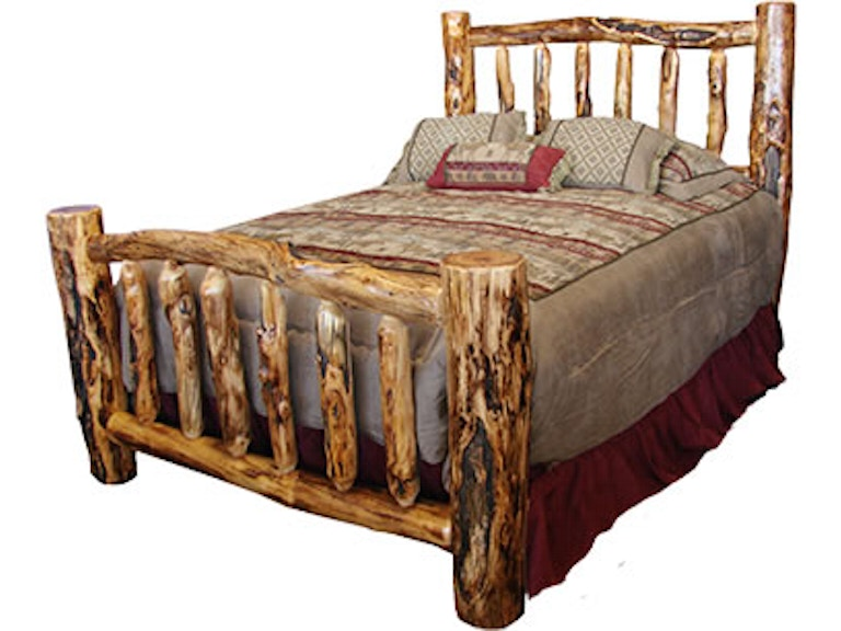 Rustic Log Platform Bed Queen In Gnarly Pbed Qu Gl