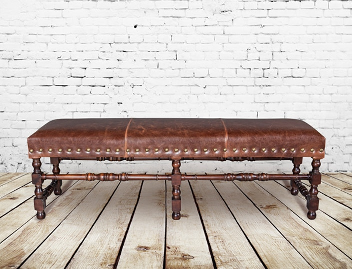 Alder And Tweed Dining Room Antique Saddle Leather Santiago Bench AT612 AS  At High Country Furniture U0026 Design