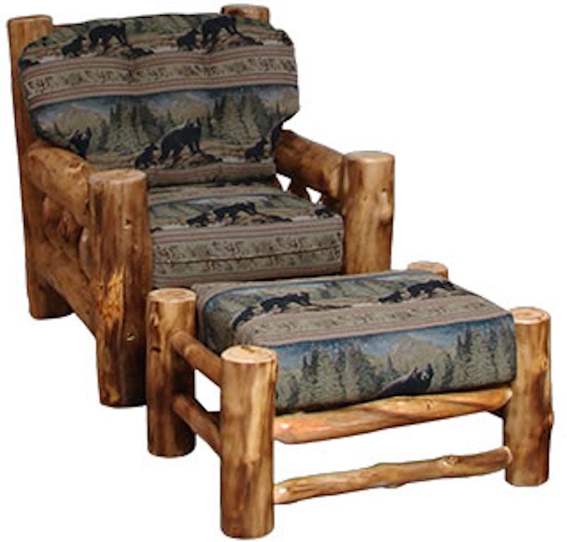 Wondrous Rustic Log Living Room Timber Frame Chair Ottoman For Dailytribune Chair Design For Home Dailytribuneorg