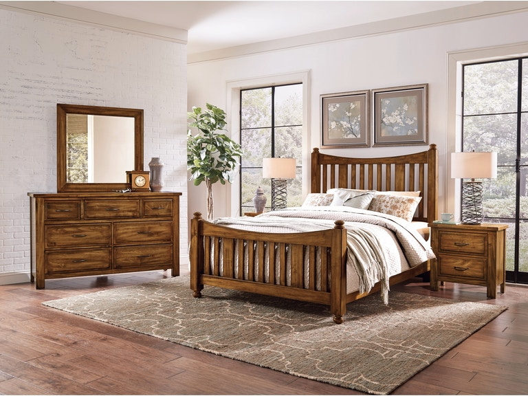 Artisan & Post Maple Road - Antique Amish Slat Poster Bed ALE-118B - Artisan & Post Bedroom Maple Road - Antique Amish Slat Poster Bed