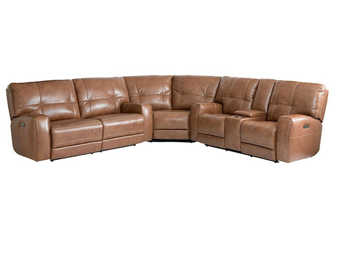 Bassett Club Level Conway Curved Corner Sectional In Umber 3715 38U