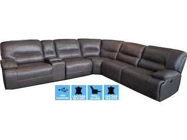 Finesse Motion Ellis Power Motion Leather Sectional - CLEARANCE PRICED PELLISLEA