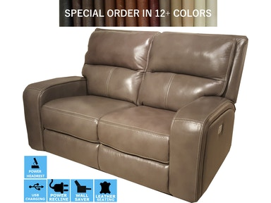Finesse Motion Flynn Power Motion Leather Loveseat 331930