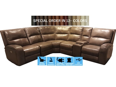 Finesse Motion Flynn Power Motion Leather Sectional PFLYNN