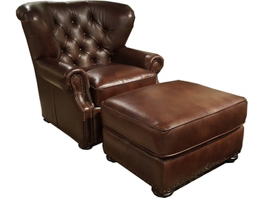 Hudson Kai Library Chair and Ottoman 100% Leather PKAI2PC