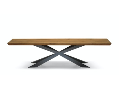 Finesse Modern Spyder Wood Top Dining Table Spyder Wood