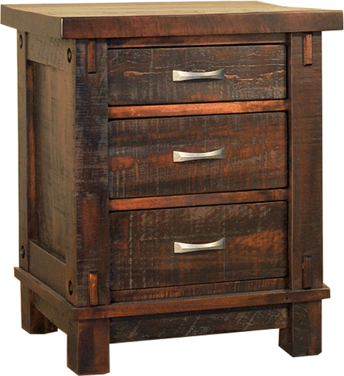 Ruffsawn Bedroom Timber 3 Drawer Nightstand Chest Solid Maple Made In Canada Timbnight