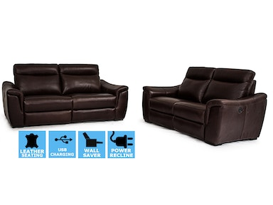 Finesse Motion Tristan Power Recline Sofa & Loveseat 100% Top Grain Leather CLEARANCE PRICED 217780/90