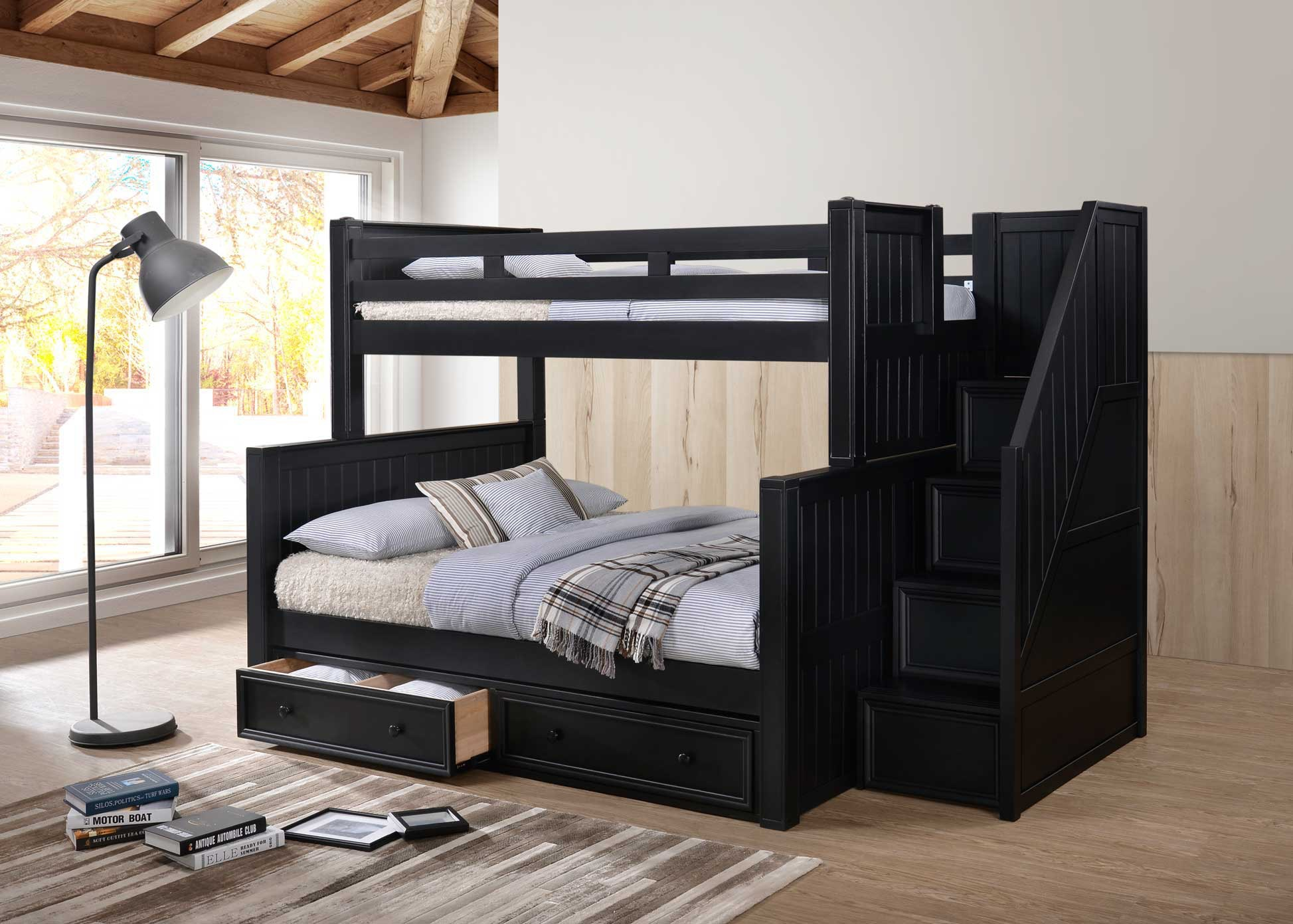 J A Y Furniture Twin Over Full Bunk Beds W Step Drawers 0261 C
