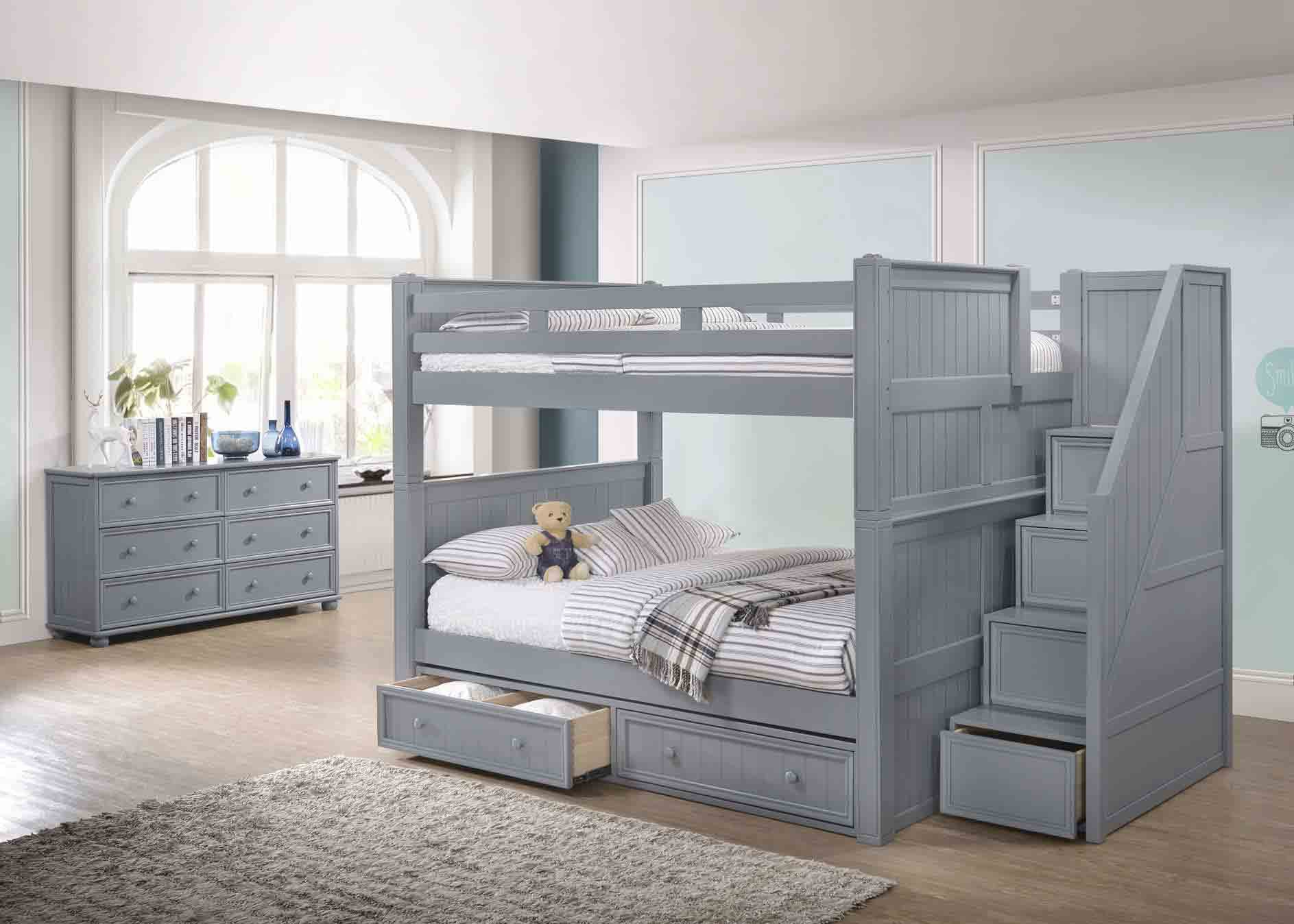 J A Y Furniture Full Full Bunk Beds W Step Drawers 0361 C Simply