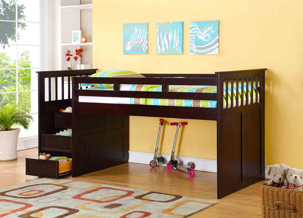 J A Y Furniture Twin Junior Loft Beds W Step Drawers 0932 At Simply