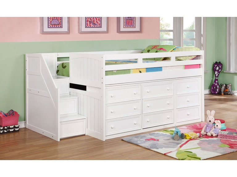 J A Y Furniture Twin Junior Loft Beds W Step Drawers 0933