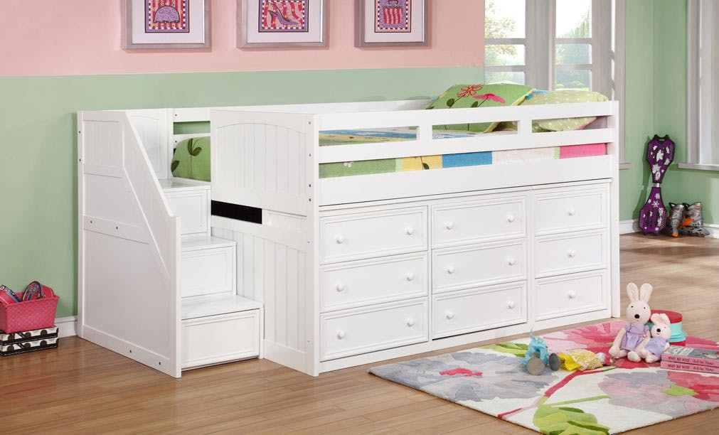 Picture of: J A Y Furniture Twin Junior Loft Beds W Step Drawers 0933 Simply Discount Furniture Santa