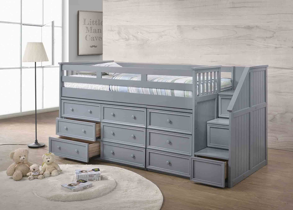 J A Y Furniture Twin Junior Loft Beds W Step Drawers 0936 At Simply