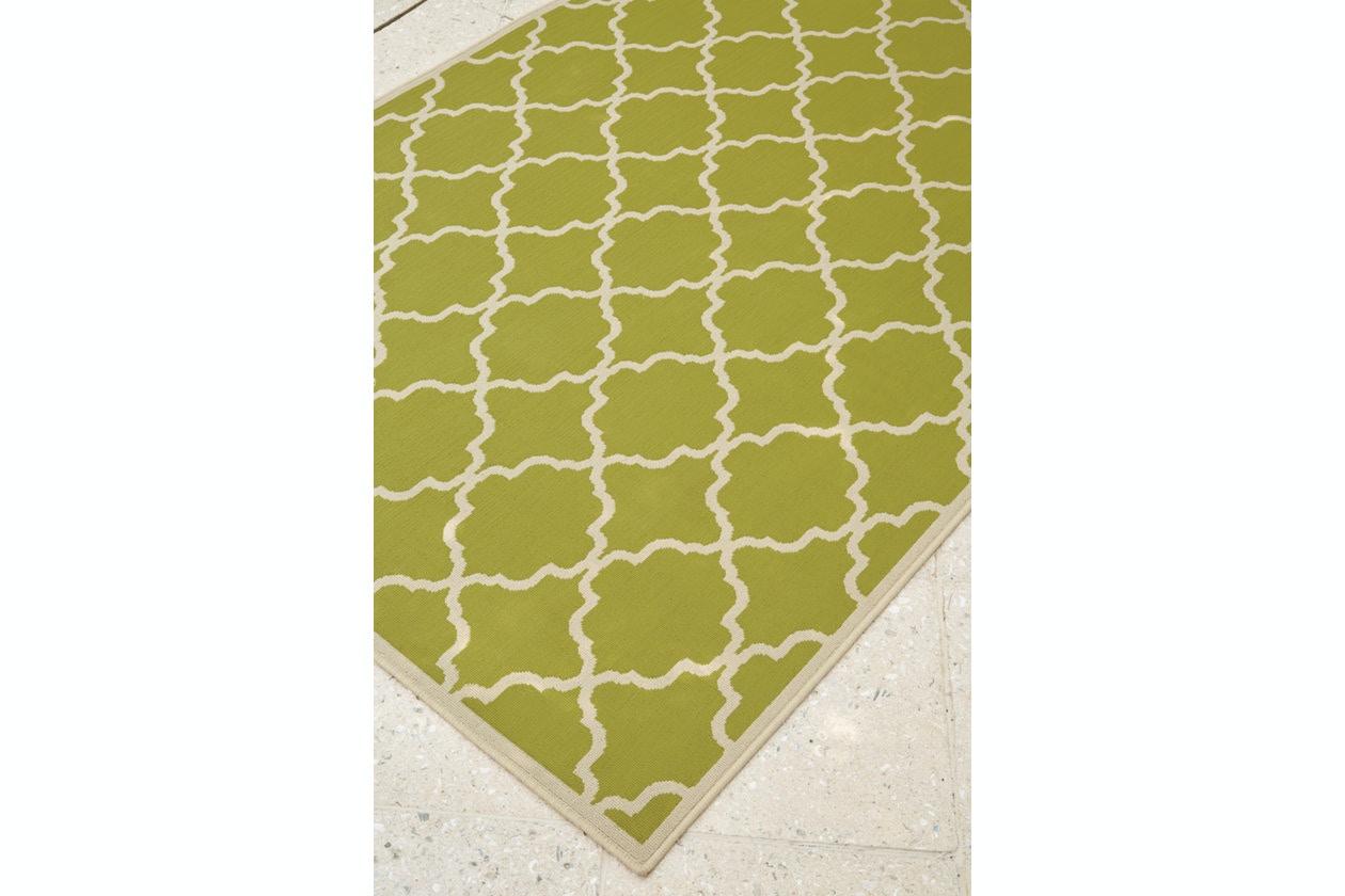 Ashley Outdoor Patio Kerry 5 X 7 Indoor Outdoor Rug In Green Cream