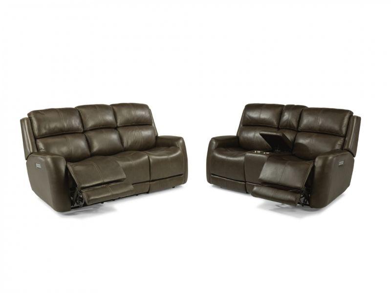 Flexsteel Allen Power Headrest, Reclining Sofa And Loveseat 55ALLEN