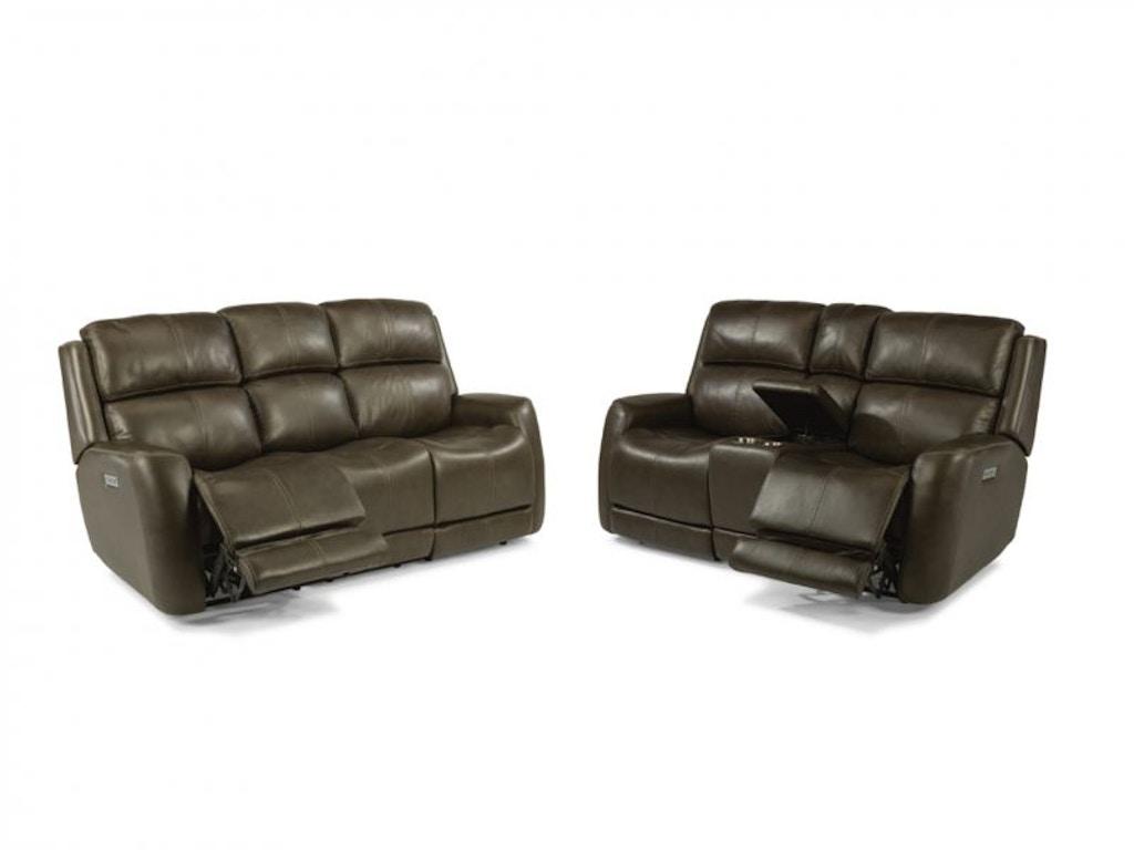 Flexsteel Living Room Allen Power Headrest Reclining Sofa And Loveseat