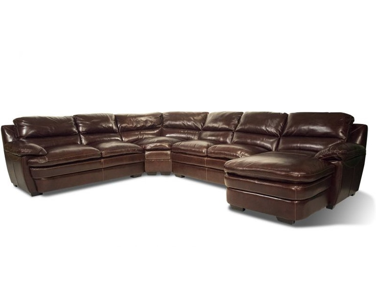 Caselli Fine Leather Callahan Leather RAF Chaise Sectional 55&#34 TV Free 55CALLAHAN