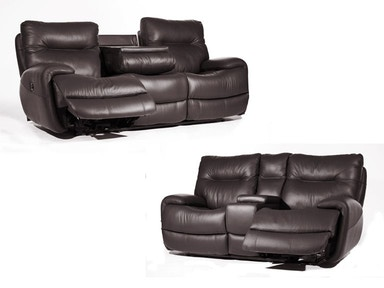 Evian Charcoal Power Sofa and Power Loveseat