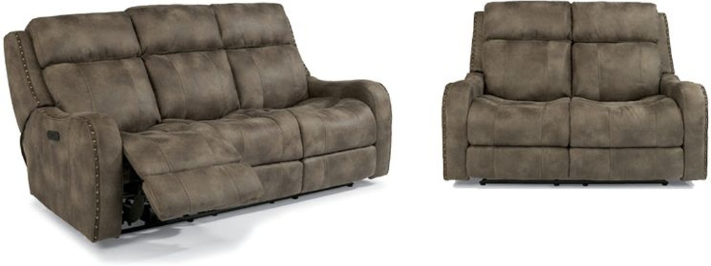 Flexsteel Field Reclining Sofa And Loveseat 55field