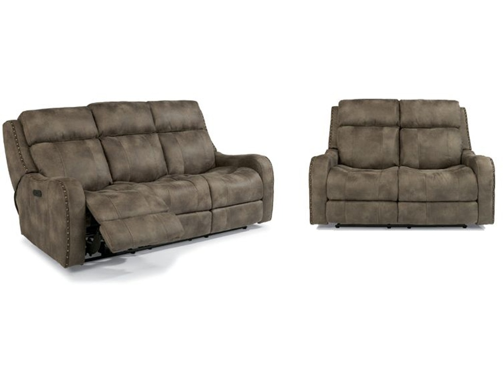 Flexsteel living room field power reclining sofa and loveseat Power reclining sofas and loveseats