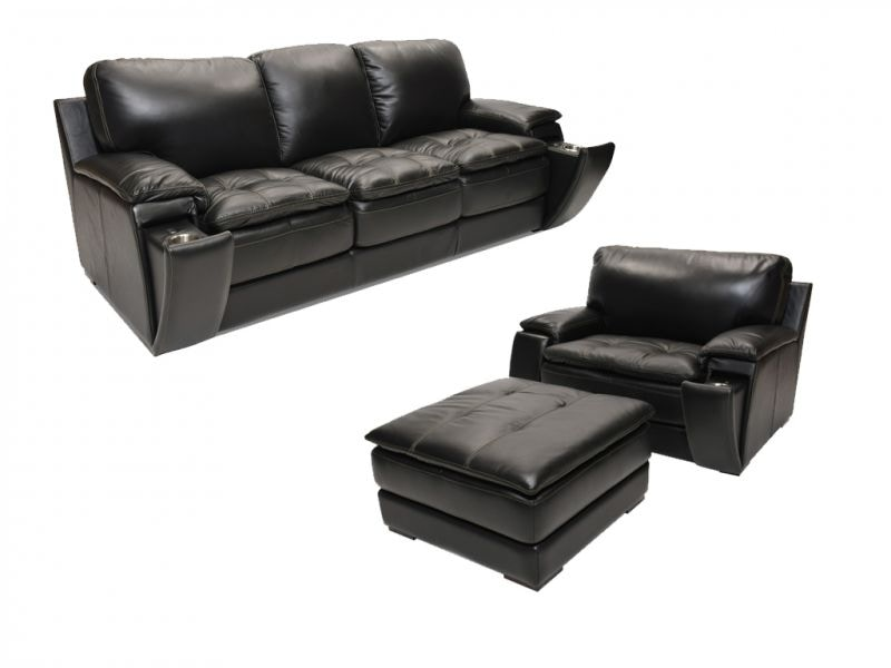 Bon Matera Leather Sofa, Chair And Storage Ottoman