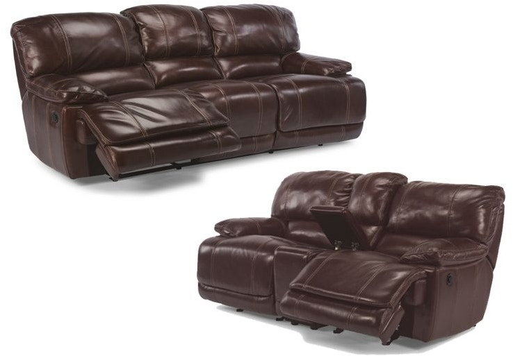Flexsteel Living Room Ross Power Reclining Leather Sofa And Loveseat
