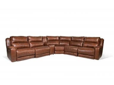 Santorini Leather Power Sectional, Power Headrest