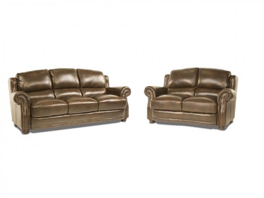 Sinclair Leather Sofa and Loveseat
