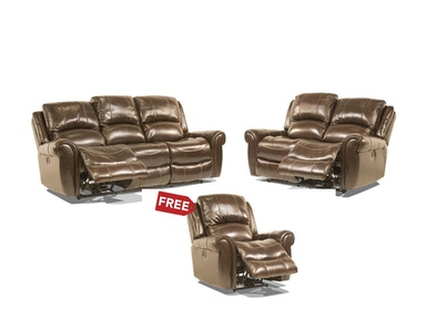 Walnut Leather Sofa and Loveseat, Recliner FREE