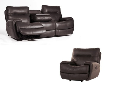 Evian Charcoal Power Sofa and Power Recliner