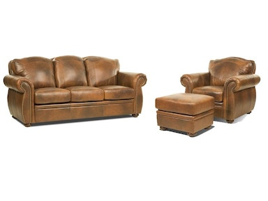 Marco Leather Sofa, Chiar and Ottoman