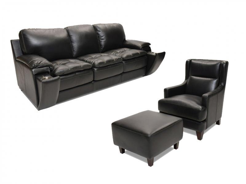 Futura Matera Leather Sofa, Accent Chair And Ottoman 56MATERA