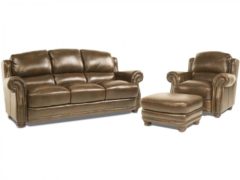 Futura Living Room Sinclair Leather Sofa Chair and Ottoman