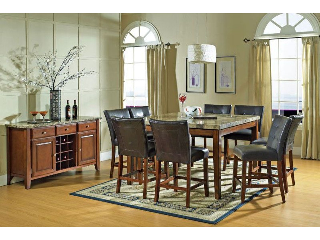 Steve Silver Dining Room Montibello Pub Table and Four Pub Chairs