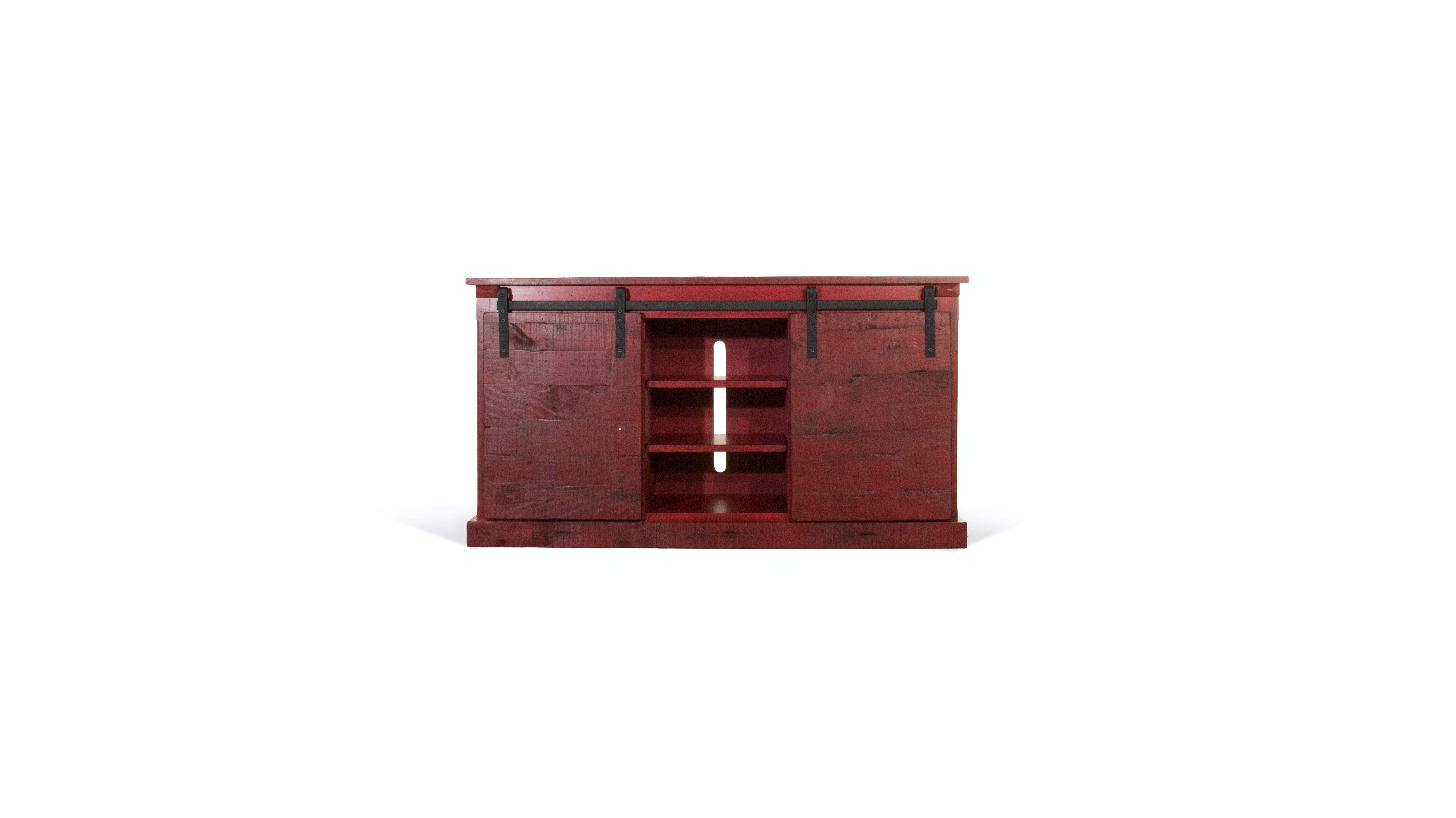 Sunny Designs Living Room Barndoor Red 62u0026quot; Console