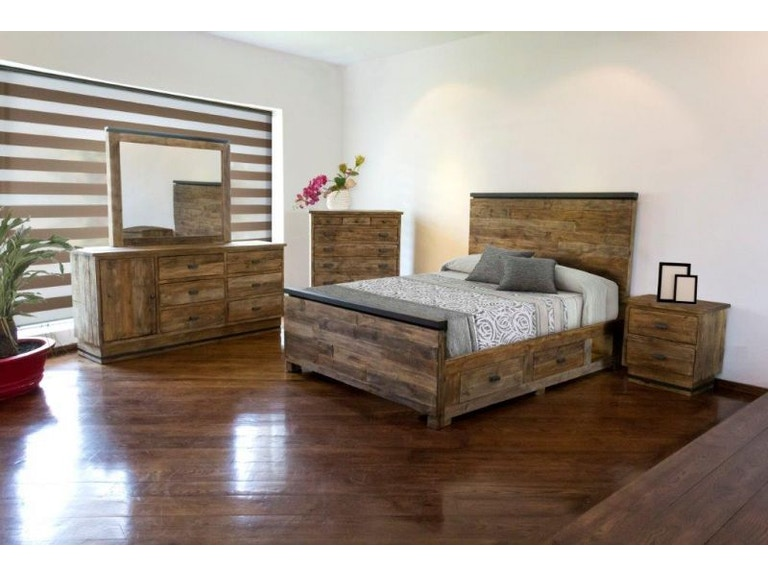 Urban roads bedroom american king bed dresser mirror and for American furniture king bedroom sets