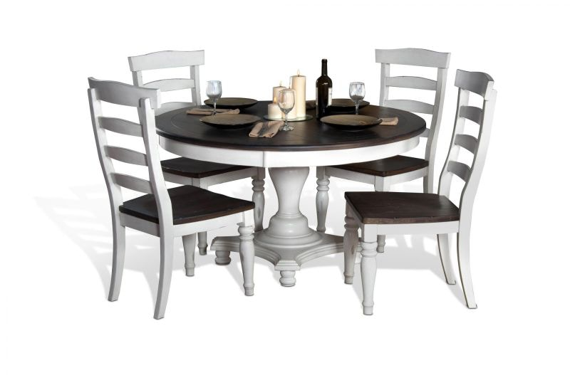 Sunny Designs Dining Room Bourbon Round Dining Table and 4 Chairs