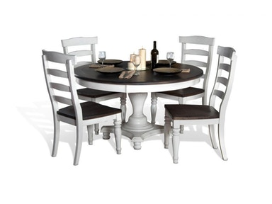 Bourbon Round Dining Table and 4 Chairs