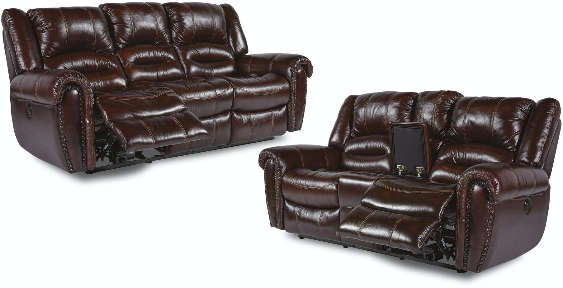 Flexsteel Living Room Bricktown Reclining Sofa And Loveseat ~ Traditional Reclining Sofa