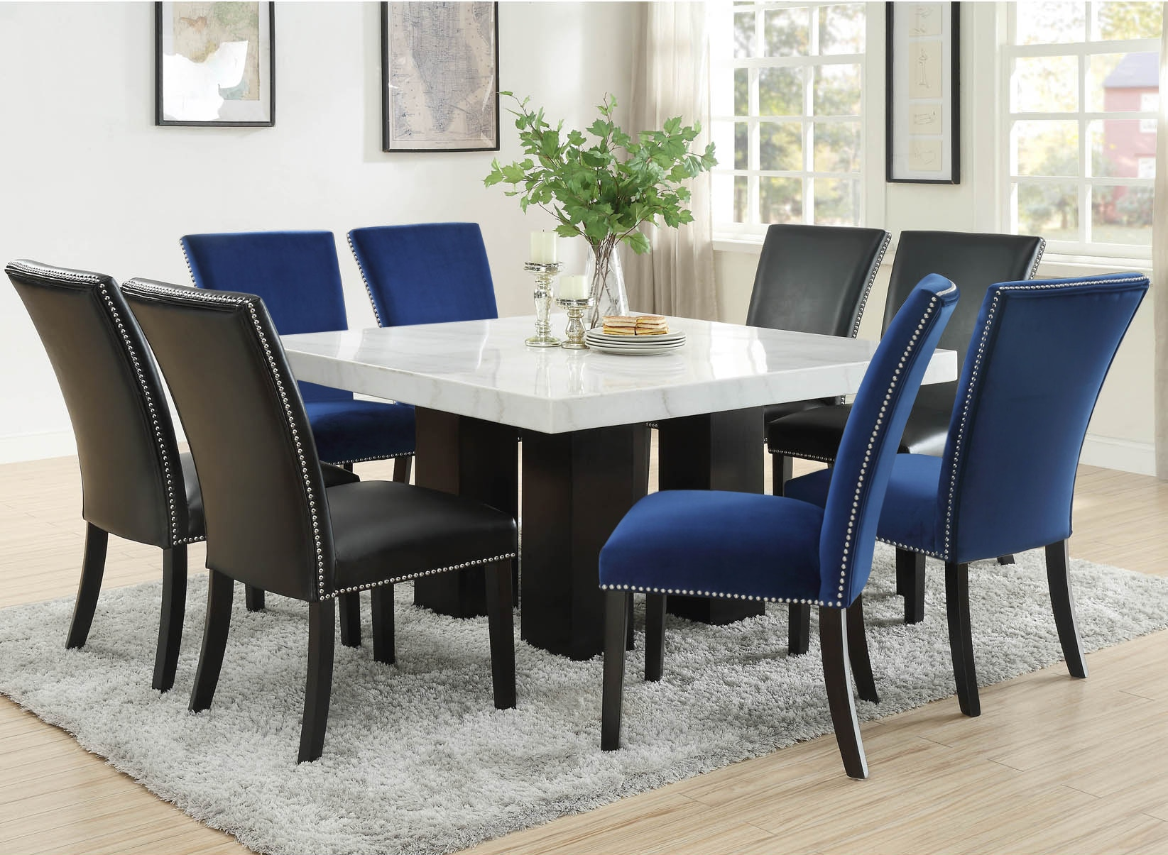 Black And Silver Dining Table Set