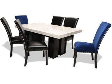 camilla dining table 4 black and 2 blue chairs